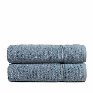 Rice Effect  Turkish Aegean Cotton Bathsheet Towel Pack of 2 (Steel Blue), , large