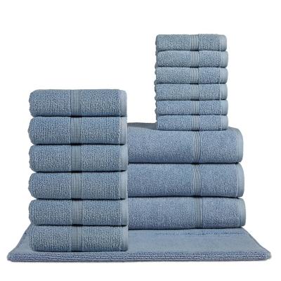 Rice Effect  Turkish Aegean Cotton Towel Set of 16 (Steel Blue), , large