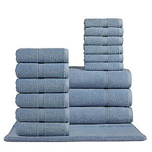 Rice Effect  Turkish Aegean Cotton Towel Set of 16 (Steel Blue), , rollover