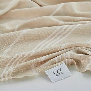 Ivy Olympia  Jacquard Yarn Dyed Beach Towel Beige, , rollover