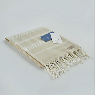 Ivy Olympia  Jacquard Yarn Dyed Beach Towel Beige, , large
