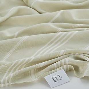 Ivy Olympia  Jacquard Yarn Dyed Beach Towel Green, , rollover