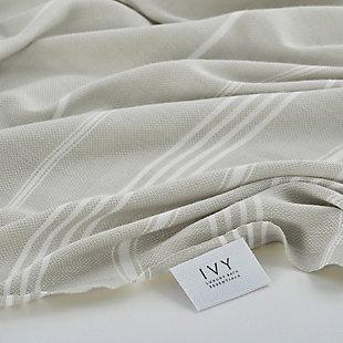 Ivy Olympia  Jacquard Yarn Dyed Beach Towel Gray, , rollover
