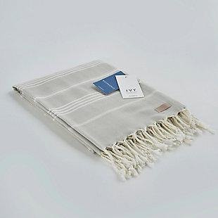 Ivy Olympia  Jacquard Yarn Dyed Beach Towel Gray, , large