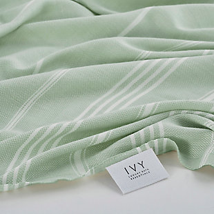 Ivy Olympia  Jacquard Yarn Dyed Beach Towel Mint, , rollover