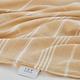 Ivy Olympia  Jacquard Yarn Dyed Beach Towel Mustard, , rollover