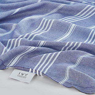 Ivy Olympia  Jacquard Yarn Dyed Beach Towel Royal Blue, , rollover