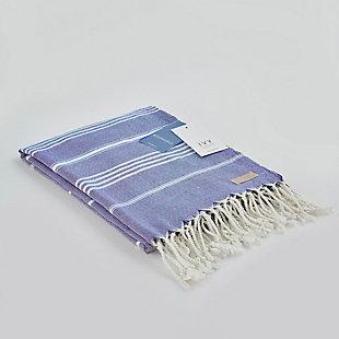 Ivy Olympia  Jacquard Yarn Dyed Beach Towel Royal Blue, , large