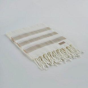 Salem Kavak  Fringe Turkish Cotton Beach Towel Beige, , large