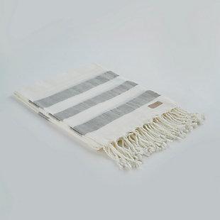 Salem Kavak  Fringe Turkish Cotton Towel Gray, , large