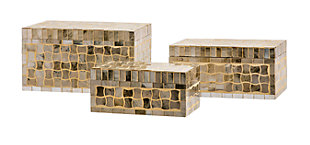 Holiday Christmas Gold Glass Mosaic Boxes (Set of 3), , large
