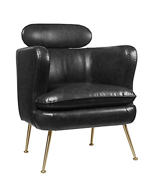 Benzara Accent Chair with Shelter Sloped Armrest, , large