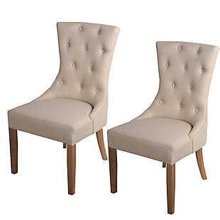 Benzara Accent Chair with Button Tufting (Set of 2), Cream, rollover