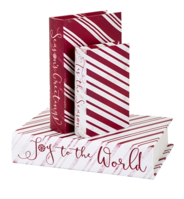 Image of Holiday Christmas Candy Strip Book Boxes (Set of 3), Red