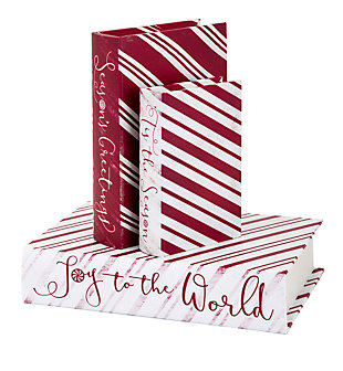 Holiday Christmas Candy Strip Book Boxes (Set of 3), , large
