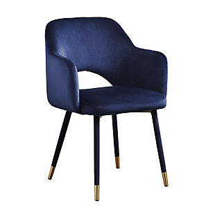 Benzara Accent Chair with Open Back, Blue/Gold, rollover