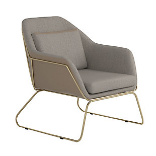 Benzara Fabric Accent Chair with Angled Sled Base, , large