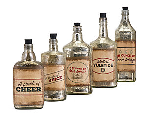 Holiday Homestead Christmas Vintage Label Glass Bottles, , large