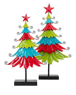 Holiday Whimsy Christmas Colorful Metal Trees, , large