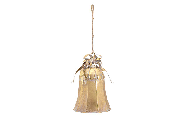 Holiday Christmas Large Gold Bell, , large