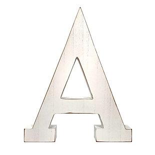"Large 15.75 in. ""A"" White Wash Decorative Monogram, , large"