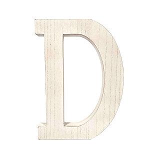 "Large 15.75 in. ""D"" White Wash Decorative Monogram, , large"
