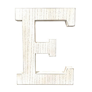 """Large 15.75 in. """"E"""" White Wash Decorative Monogram, , large"""