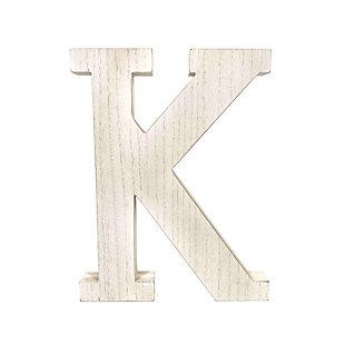 """Large 15.75 in. """"K"""" White Wash Decorative Monogram, , large"""