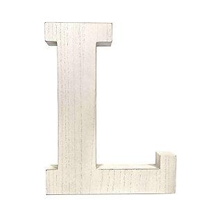 "Large 15.75 in. ""L"" White Wash Decorative Monogram, , large"