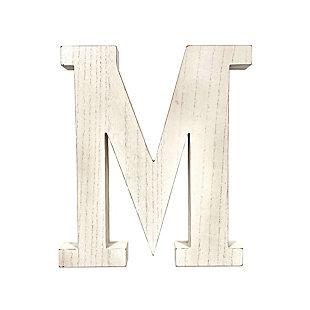 """Large 15.75 in. """"M"""" White Wash Decorative Monogram, , large"""