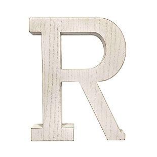 "Large 15.75 in. ""R"" White Wash Decorative Monogram, , large"