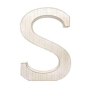 """Large 15.75 in. """"S"""" White Wash Decorative Monogram, , large"""