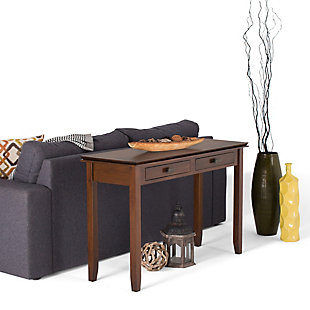 Simpli Home Artisan Console Sofa Table, Russet Brown, rollover