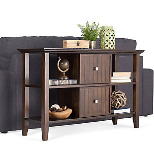 Simpli Home Acadian Console Sofa Table, Brunette Brown, rollover