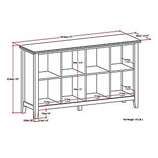 Simpli Home Artisan 8 Cube Storage Sofa Table, Russet Brown, large