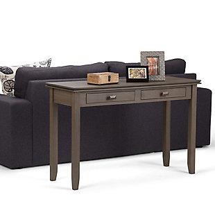 Simpli Home Artisan Console Sofa Table, Farmhouse Gray, rollover