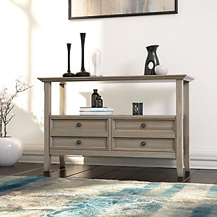Simpli Home Amherst Console Sofa Table, Distressed Gray, rollover