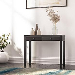 Simpli Home Cosmopolitan Console Sofa Table, Dark Cognac Brown, rollover