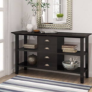 Simpli Home Redmond Console Sofa Table, Hickory Brown, rollover