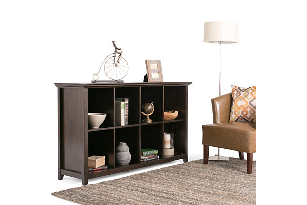 Simpli Home Amherst 8 Cube Bookcase Storage Sofa Table, Hickory Brown, large