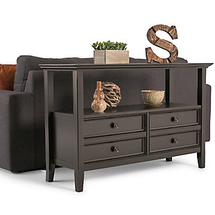 Simpli Home Amherst Console Sofa Table, Hickory Brown, rollover