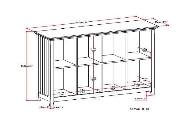 Simpli Home Acadian 8 Cube Storage Sofa Table, Brunette Brown, large