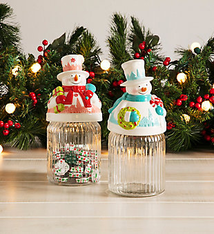 Holiday Whimsy Christmas Snowman Jars, , rollover