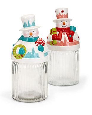 Holiday Whimsy Christmas Snowman Jars, , large