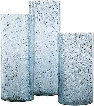 Surya Mist Glass Hurricane Candle Holder (Set of 3), , rollover