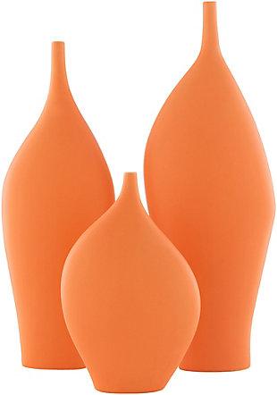 Surya Neo Orange Ceramic Vase (Set of 3), , rollover