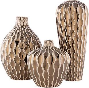 Surya Rockwell Gold Ceramic Vase (Set of 3), , rollover
