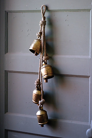 Holiday Four Rustic Iron Hanging Bells with Rope, , rollover