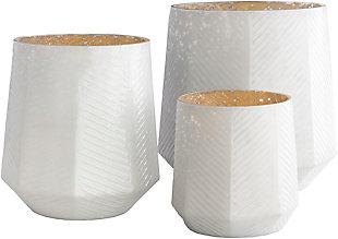 Surya Pearl White Glass Hurricane Vase (Set of 3), , rollover