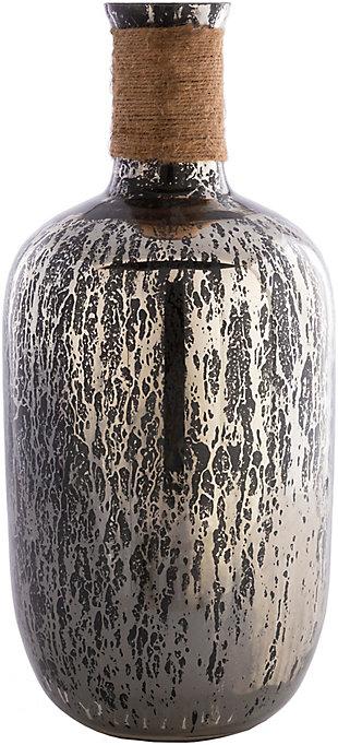 Surya Reflection Black Jute Glass Vase, , large